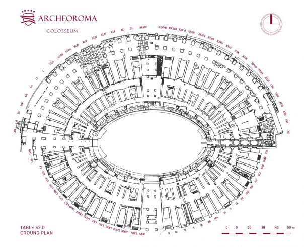 Ground plan of the Colosseum (Flavian Amphitheatre)